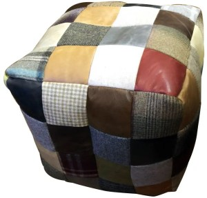 Vintage Sofa Co square cube beanmade made from a patchwork of various fabrics including harris tweed and different colour leathers