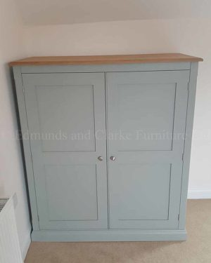 Bespoke low eaves two door wardrobe painted with choice of colours oak and pine top available