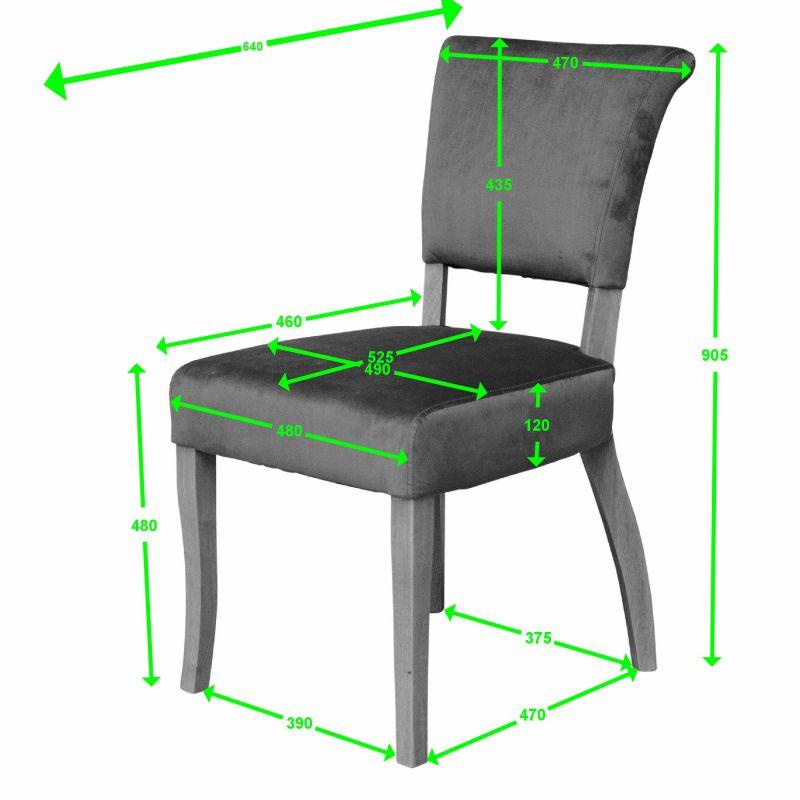 capri dining chair velvet measures