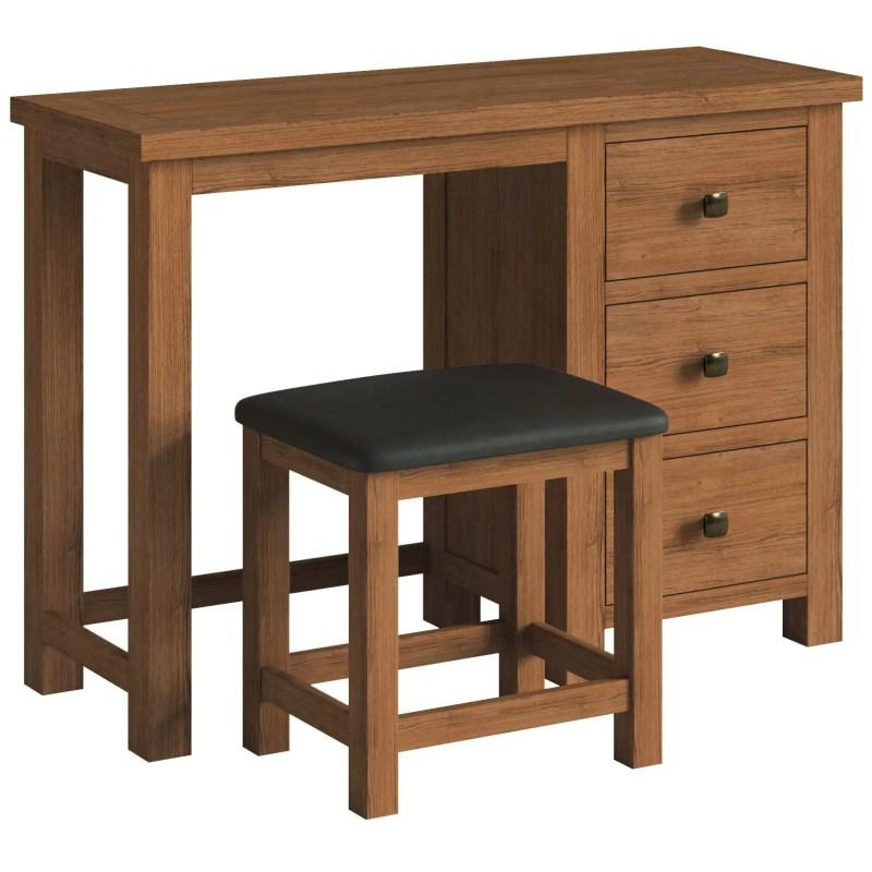 DOR022R Dorset rustic oak single ped dressing table
