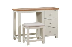 Dorset Painted dressing table with oak top and including stool