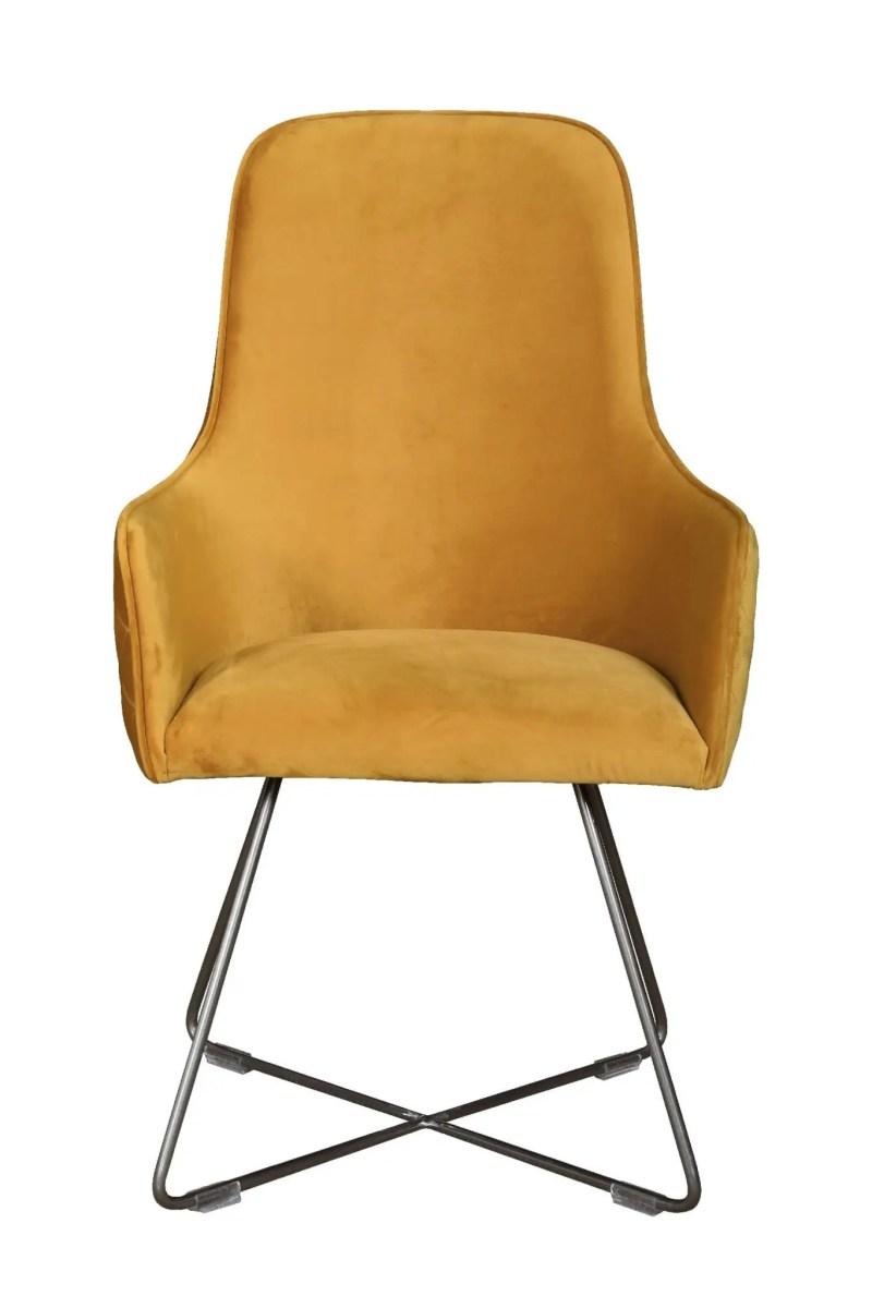 Utah dining chair plush mustard with pewter legs