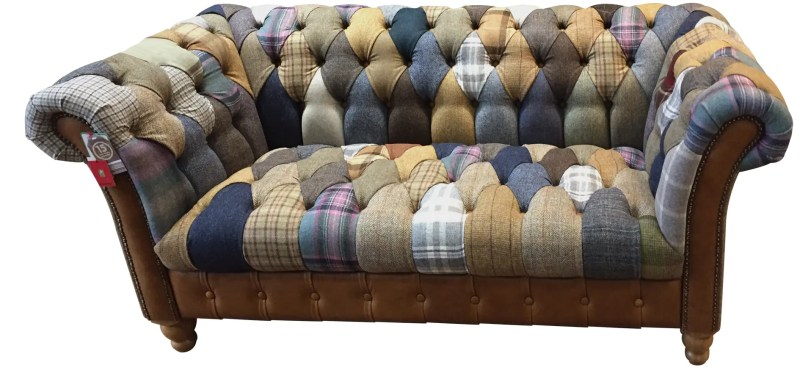 Vintage Sofa Co Chester Club Harlequin Fast Track Sofa in patchwork harris tweed and wool fabric with cerato brown leather arms and detailing on turned oak legs cutout