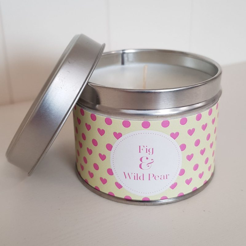 Pintail Candles Fig and Wild Pear Small Single Wick Candle in a Heart and Spotty Tin
