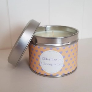 Pintail Candles Elderflower Champagne Small Single Wick Candle in a Spotty Tin