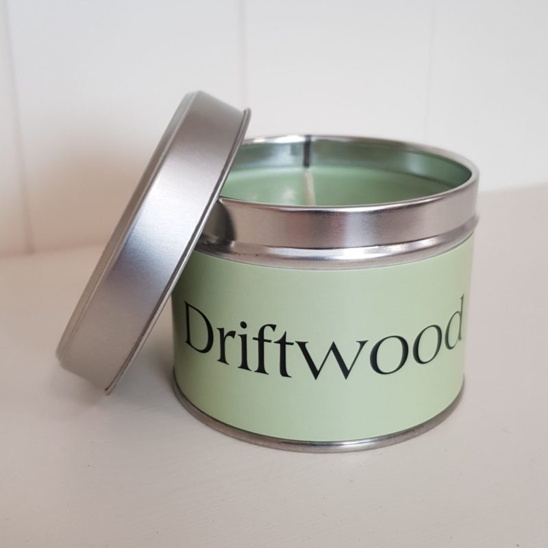 Pintail Candles Driftwood Small Single Wick Candle in a Green Tin