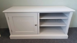 Painted grey television entertainment stand with door and open shelves