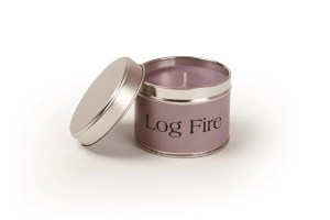 Pintail Candles Log Fire Small Single Wick Candle in a Purple Tin