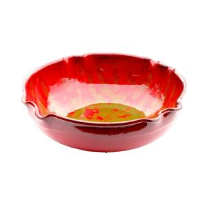 Red green speckled bowl v1