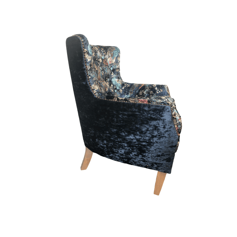 Stanford armchair peacock aqua side with no background
