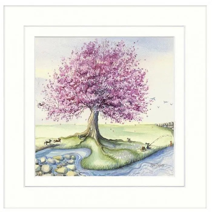 AK10115 Down by the river by Catherine Stephenson, big oak tree on edge of stream with bunnies playing around it