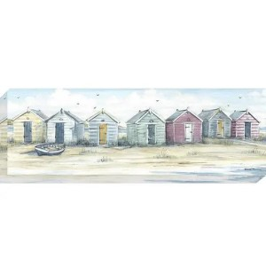 AK10123 Beach Days by Diane Demirci, canvas artwork of colourful beach huts