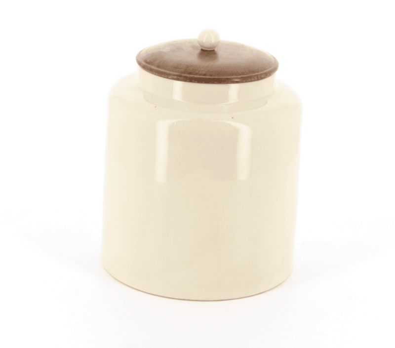 Country kitchen Small round store with wooden lid, ceramic knob