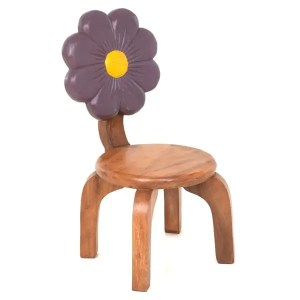 Childs Wooden Chair With Purple Flower Carved and Painted on Back Rest