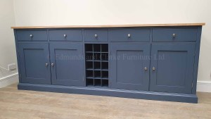 painted 8ft sideboard with oak top and central wine rack