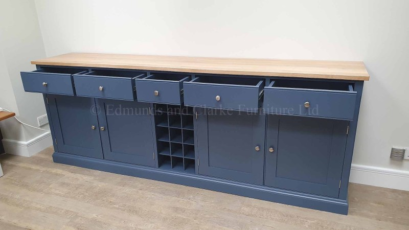 painted sideboard with soft close drawers central wine rack solid oak top