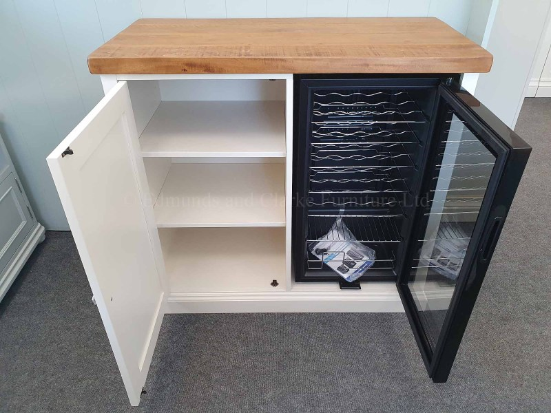 drinks chiller cupboard painted with choice of pine or oak top