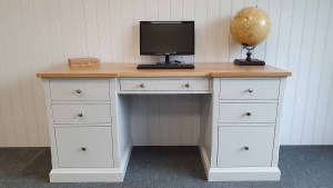 painted double pedestal desk with oak top