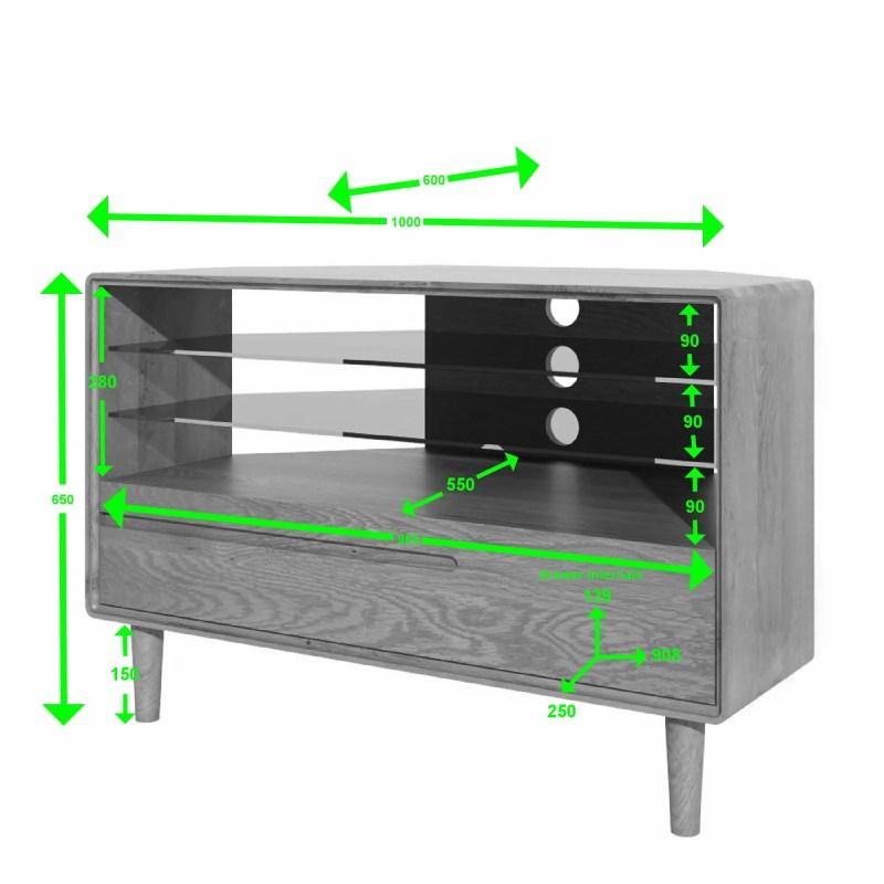 SCACORTV Scandic oak corner TV Unit measurements