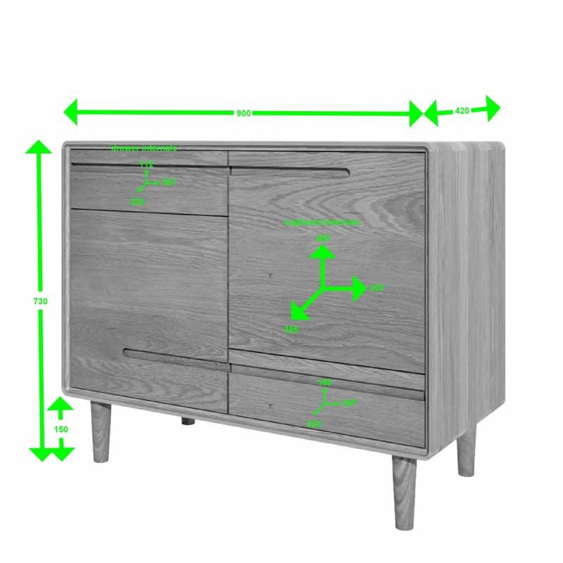 scandic oak small sideboard measurements