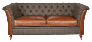 granby seater sofa harris tweed and cerato leather seat cushions V1