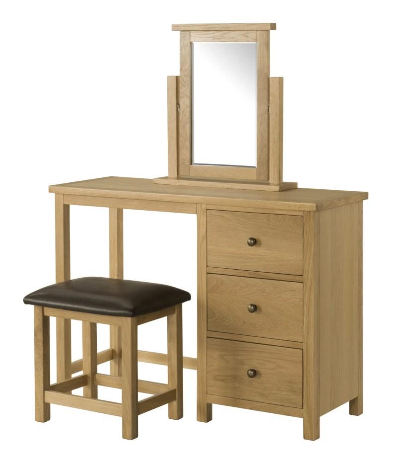 BFO018 Burford oak dressing table , mirror and stool