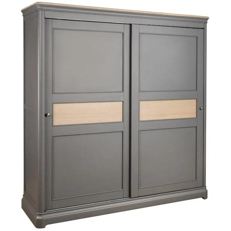 BLA034_sliding_door_double_wardrobe_with_shelves_bedroom_painted_grey
