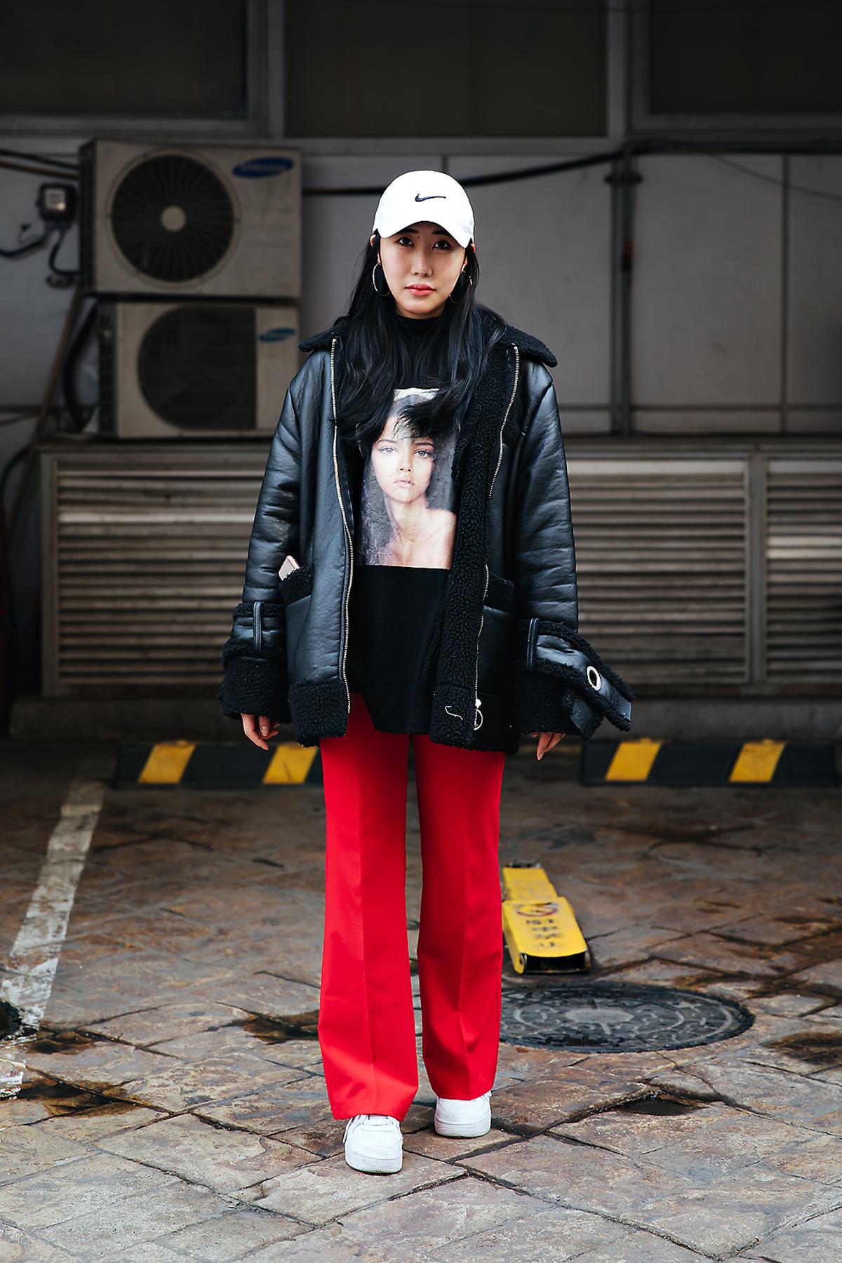 Sim Jiwon, Street style women winter 2017-2018 inseoul