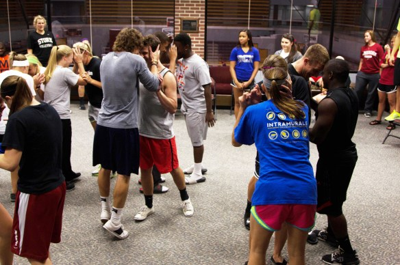 Student athletes play games to break the ice and begin FCA meeting.  Photo by Kira Roberts.