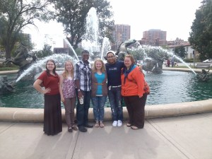 McNair students: Laura Mino, Esther Edington, Roderick Wright, Ronna Fisher, Trey Polk and Terra Frederick at a conference in Kansas City, Missouri Photo by Kim Rosfeld