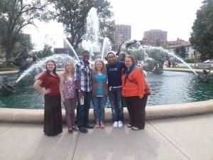 McNair students: Laura Mino, Esther Edington, Roderick Wright, Ronna Fisher, Trey Polk and Terra Frederick at a conference in Kansas City, Missouri Photo by Kim Rosfeld