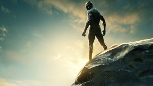 Black Panther standing on a cliff edge