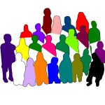 silhouette of a diverse group