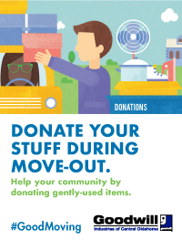Goodwill: Donate your stuff during move-out.
