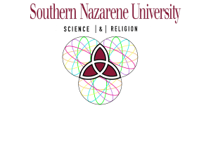 a trinity made out of atoms in the Science and Religion Club logo