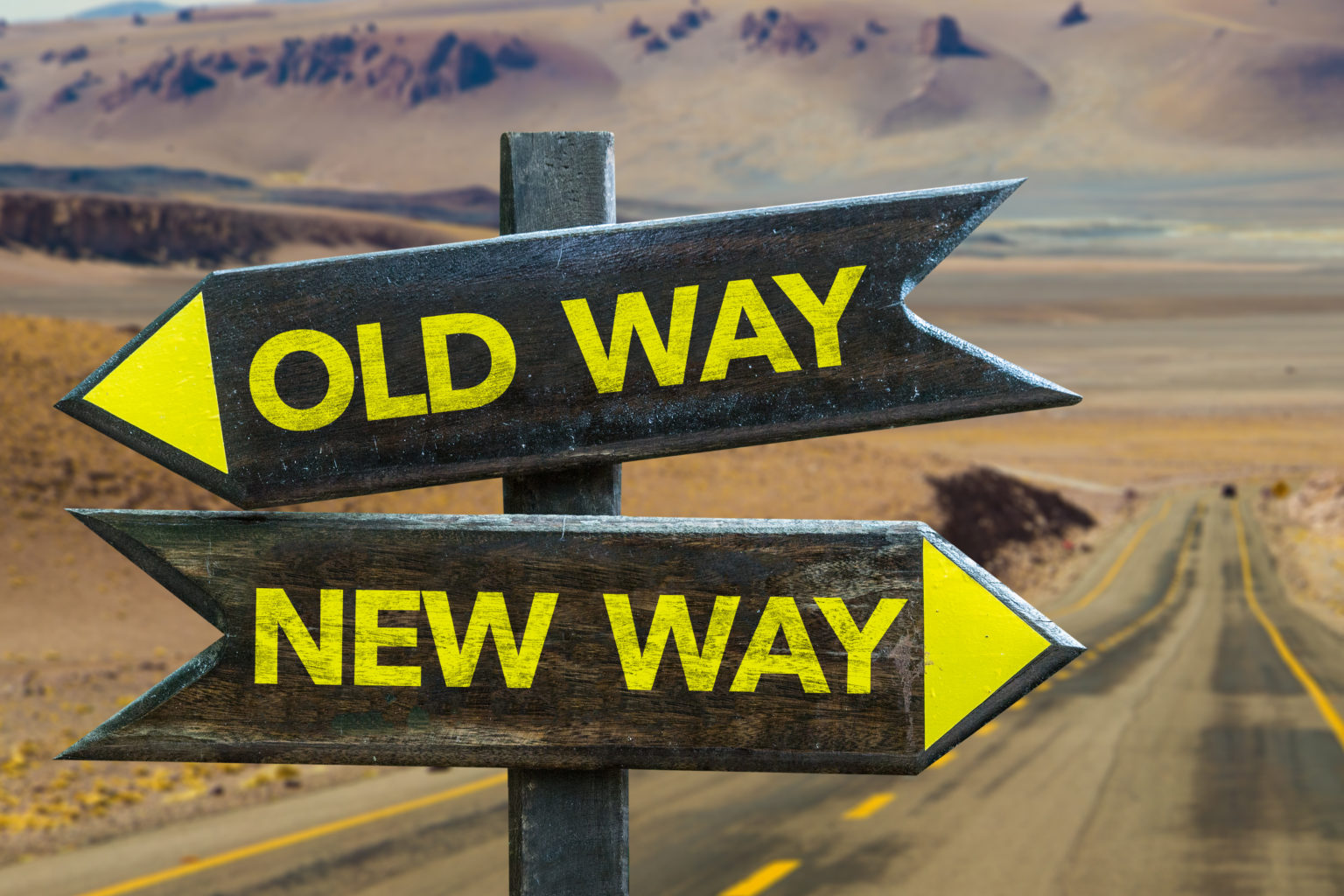 hight resolution of old way x new way crossroad