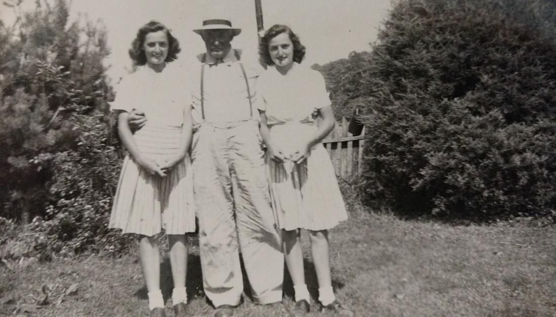 Christine and Claudine with Grandad Garman