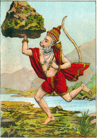 Hanuman carrying the mountain
