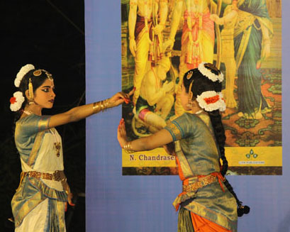 Students from the Grove School in a scene from the Ramayana