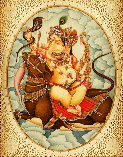 471px-Ganesh_sits_affectionately_with_his_vahana,_Mushika_another_version