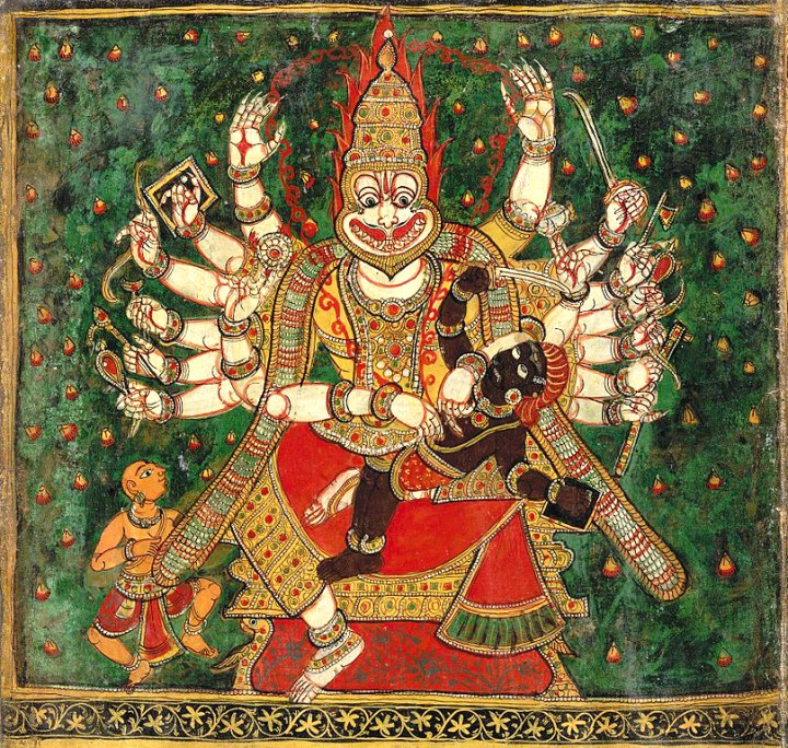 An eighteenth century painting This work is in the public domain in India because its term of copyright has expired.808px-Narasimha_oil_colour