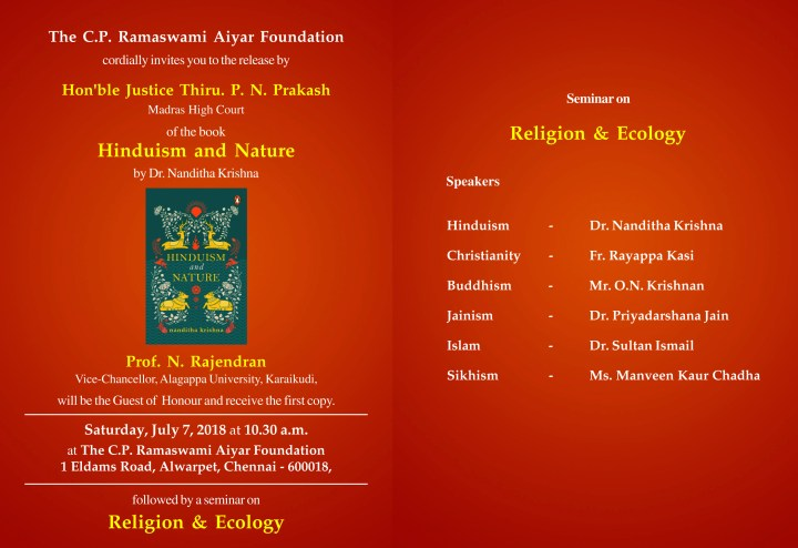 Hinduism and Nature - release of book