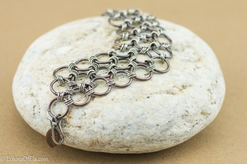 Mixed metal chain maille bracelet