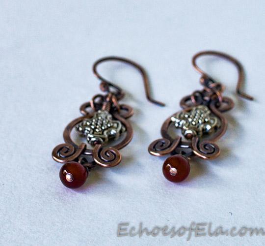 red-silver-copper-earrings