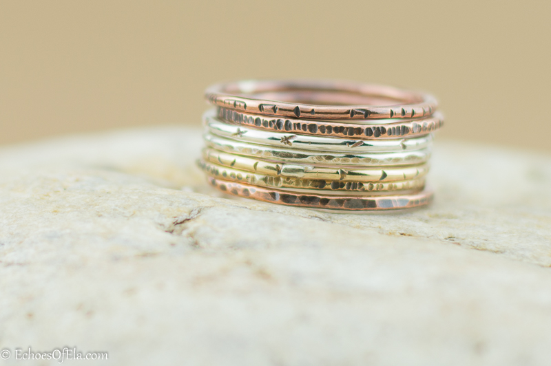 Mixed Metal Stacking Ring Set in Various Textures