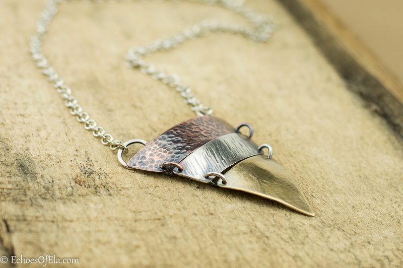 Mixed Metal Triangle Necklace on Hand Crafted Sterling Silver Chain