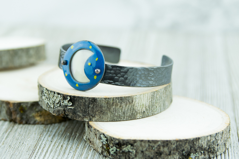 Blue starry sky and white moon enamel cuff. Hammered patina copper.