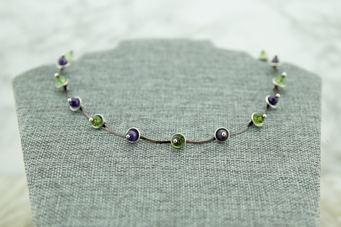 Patina copper and sterling silver hand crafted chain featuring amethyst and green Czech glass beads