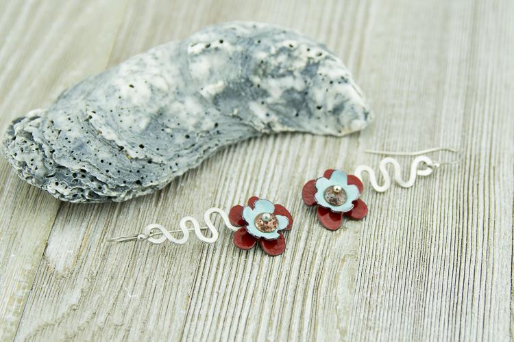 Sterling silver and torch fired enamel flower earrings