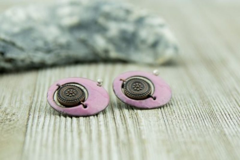 pink enamel discs with copper accent beads